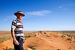 Looking out over the Simpson Desert National Park from atop a sand dune near Birdsville, Queensland, Australia