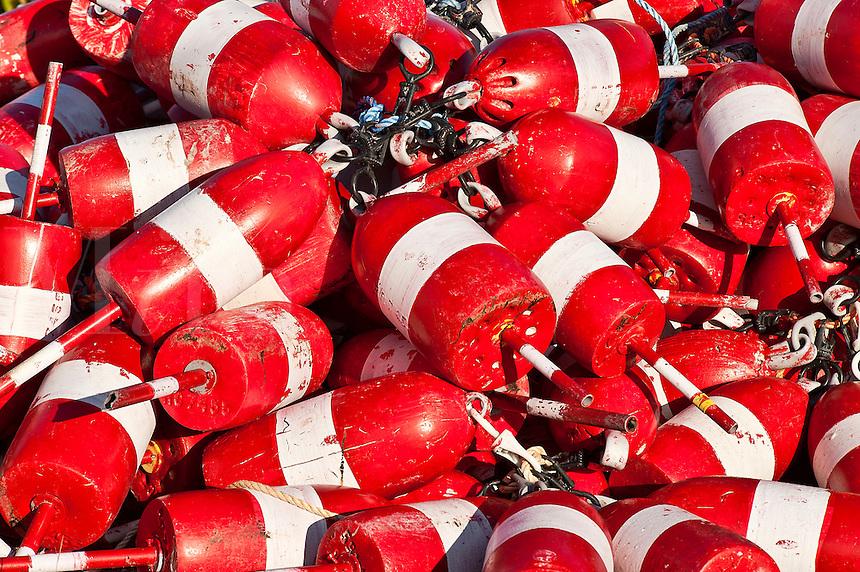 Lobster buoys, Maine, USA.