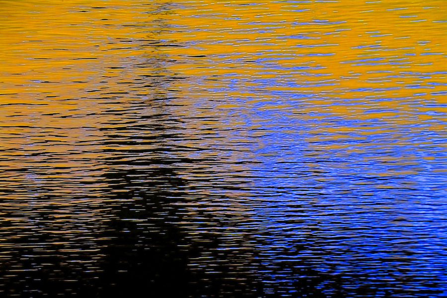 December, 2015 Abstract Allegheny River with reflection of Mt. Washington in Pittsburgh, PA. inverse of clouds and blue sky yellow/blue. After initial sat; h-168 s+62