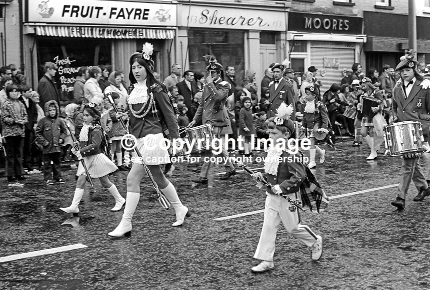 Accordian band taking part in their annual Twelfth celebration in Belfast, N Ireland, UK, 12th July 1972. 197207120422e<br />