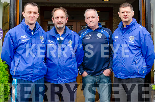 Templenoe management team at their press day in Kenmare on Saturday.<br /> Mike Hussey (Trainer), Paul Crowley (Selector), Neilie O'Sullivan (Selector), and Mike Crowley (Manager)
