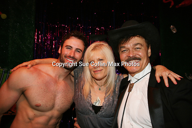Matthew Pender (former Detroit Tiger pitcher) & Randy Jones (original cowboy Village People join One Life To Live's Ilene Kristen on April 28, 2010 at Will Clark's P*rno Bingo at Pieces, New York City, New York to benefit the American Foundation for Suicide Prevention - an event presented by We Love Soaps (Damon Jacobs and Roger Newcomb). (Photos by Sue Coflin/Max Photos)