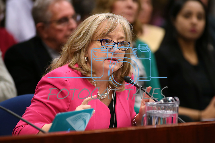 Karen England, executive director of the Capitol Resouce Institute, testifies in support of a bill that would require public school bathrooms and locker rooms to be used by students of one gender during a hearing at the Legislative Building in Carson City, Nev., on Friday, April 10, 2015. <br /> Photo by Cathleen Allison