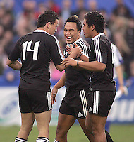 New Zealand fullback Trent Renata is congratulated after scoring second during the U19 Championship final against South Africa at Ravenhill, Belfast.