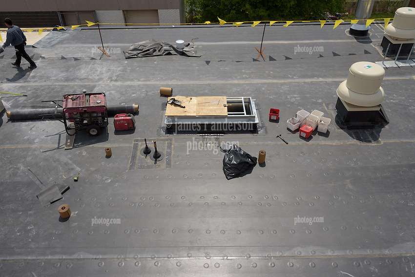 Roof Replacement and Mechanical Upgrades Stratford School For Aviation Maintenance Technicians.  Project No: BI-RT-860<br /> Contractor: Silktown Roofing, Manchester CT.<br /> James R Anderson Photography   New Haven CT   photog.com<br /> Date of Photograph: 15 May 2014<br /> Camera View: West, Roof B  Image No. 27