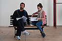 """London, UK. 12/04/2011. Kara Tointon and Rupert Everett in rehearsal for """"Pygmalion"""", which opens at the Garrick Theatre, London. Picture credit should read: Jane Hobson"""