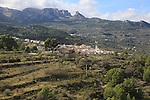 Mountain landscape scenery Benimantell village, valley of Gaudalest, Alicante province, Spain