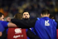 Elliott Stooke of Bath Rugby looks on in a pre-match huddle. European Rugby Champions Cup match, between Benetton Rugby and Bath Rugby on January 20, 2018 at the Municipal Stadium of Monigo in Treviso, Italy. Photo by: Patrick Khachfe / Onside Images