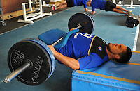 Leroy Houston in the gym. Bath Rugby pre-season training on July 21, 2015 at Farleigh House in Bath, England. Photo by: Patrick Khachfe / Onside Images