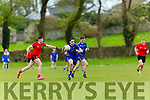 Ballymac's Luke Sweeney gets away from fossa's Mathew Rennie at the Junior Premier Club Football Championship 2017 Round 1 Ballymac v Fossa at Ballymacelligott GAA Ground on Sunday