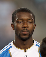 Philadelphia Union midfielder Michael Lahoud (13). In a Major League Soccer (MLS) match, the New England Revolution tied Philadelphia Union, 0-0, at Gillette Stadium on September 1, 2012.