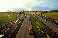 Cars at dusk on H2 freeway near Mililani, Central oahu