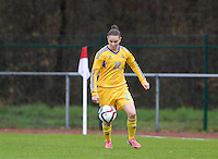 20150404 - FORST , GERMANY  : Ukrainian Roksolana Kravchuk  pictured during the soccer match between Women Under 19 teams of Belgium and Ukraine , on the first matchday in group 5 of the UEFA Elite Round Women Under 19 at WaldseeStadion , Forst , Germany . Saturday 4th April 2015 . PHOTO DAVID CATRY