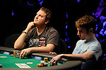 Pokerstars.net sponsored player Scott Seiver thinks long and hard whether to call Ashton Griffin.s (right) all in bet.  He folded.