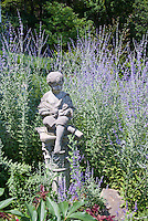 Perovskia Blue Spire and garden ornament of little boy statue, Russian sage in blue flowers