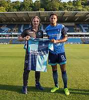 Wycombe Wanderers Manager Gareth Ainsworth with new signing Nathan Tyson of Wycombe Wanderers during the Friendly match between Wycombe Wanderers and AFC Wimbledon at Adams Park, High Wycombe, England on 25 July 2017. Photo by Andy Rowland.