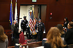The Legislative Police Honor Guard enters the Assembly chambers at the Legislative Building in Carson City, Nev., on Thursday, May 7, 2015.<br /> Photo by Cathleen Allison