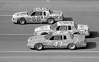 Bobby Allison(88), Joe Ruttmann(98) and Richard Petty race into  turn 3 at Atlanta in November 1982. (Photo by Brian Cleary)