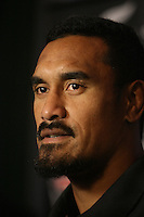 Jerome Kaino at the All Blacks media conference ahead of the test match against England, Southern Cross Hotel, Dunedin, New Zealand, Thursday, June 12, 2014. Credit: NINZ/Dianne Manson