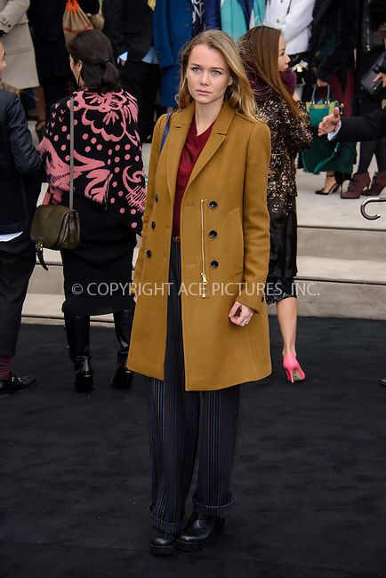 WWW.ACEPIXS.COM<br /> <br /> January 12 2015, London<br /> <br /> Immy Waterhouse attends the Burberry Prorsum Menswear A/W 2015 in Kensington Gardens on January 12 2015 in London<br /> <br /> <br /> By Line: Famous/ACE Pictures<br /> <br /> <br /> ACE Pictures, Inc.<br /> tel: 646 769 0430<br /> Email: info@acepixs.com<br /> www.acepixs.com