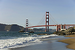 San Francisco: Baker Beach with Golden Gate Bridge in background.  Photo # 2-casanf83479.  Photo copyright Lee Foster.