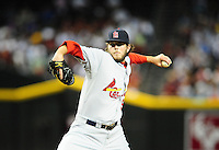 Apr. 12, 2011; Phoenix, AZ, USA; St. Louis Cardinals pitcher Brian Tallet against the Arizona Diamondbacks at Chase Field. Mandatory Credit: Mark J. Rebilas-