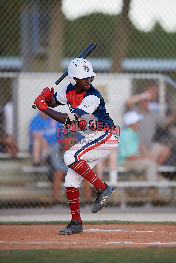 Daunte Stuart during the WWBA World Championship at the Roger Dean Complex on October 20, 2018 in Jupiter, Florida.  Daunte Stuart is shortstop from The Woodlands, Texas who attends The Woodlands High School and is committed to Northwestern State.  (Mike Janes/Four Seam Images)