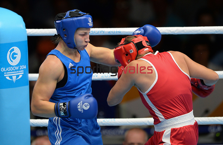 Wales Lauren Price in action against Canada's Ariene Fortin<br /> <br /> Photographer Ian Cook/Sportingwales<br /> <br /> 20th Commonwealth Games - Boxing-  Day 9 -  Friday 1st August 2014 - Glasgow - UK