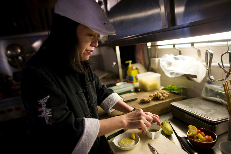 Margaret Yu at work in the Yin Yang restaurant in Hong Kong.