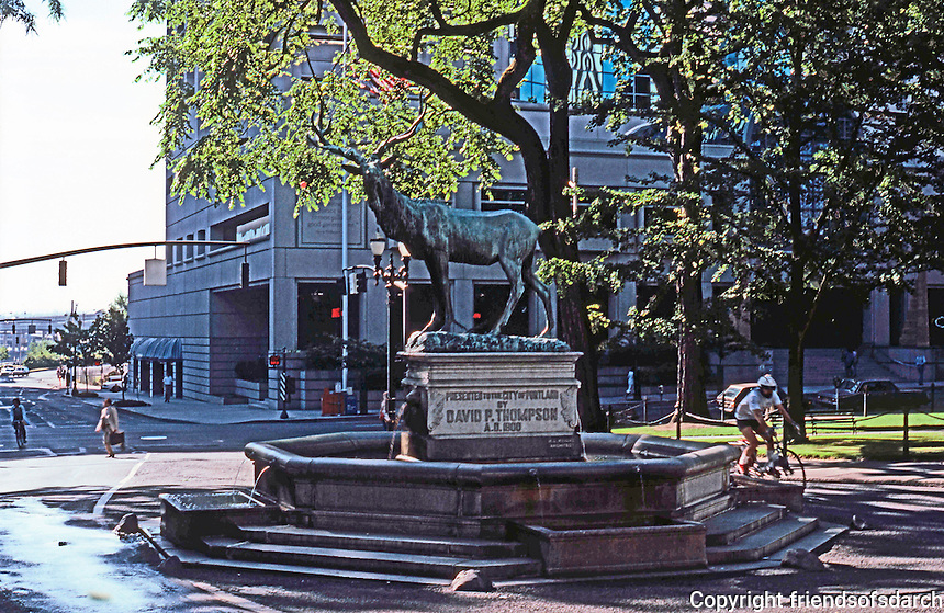 Portland: Elk Sculpture, 1900, between Plaza Blocks. Dedicated as Courthouse Squares in 1852 between 4th & 3rd. Sculptor--Roland Perry, given to City by Mayor David P. Thompson.