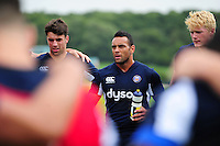 Kahn Fotuali'i of Bath Rugby speaks to his team-mates in a huddle. Bath Rugby pre-season training session on August 9, 2016 at Farleigh House in Bath, England. Photo by: Patrick Khachfe / Onside Images