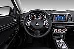 Steering wheel view of a 2012 Mitsubishi Lancer Sportback GT