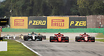 02.09.2018, Autodromo di Monza, Monza, FORMULA 1 GRAN PREMIO HEINEKEN D'ITALIA 2018<br />,im Bild<br />Rennstart:<br />Kimi Raikkonen (FIN#7), Scuderia Ferrari, Sebastian Vettel (GER#5), Scuderia Ferrari, Lewis Hamilton (GB#44), Mercedes AMG Petronas Formula One Team, Max Verstappen (NEL#33), Aston Martin Red Bull Racing<br /> <br /> Foto &copy; nordphoto / Bratic