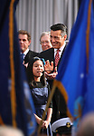 Gov. Brian Sandoval listens as Gilbert Magnet Elementary students sing the National Anthem at the inauguration at the Capitol, in Carson City, Nev., on Monday, Jan. 5, 2015.<br /> Photo by Cathleen Allison