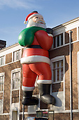 Giant inflatable Father Christmas, Colwyn Bay, North Wales.