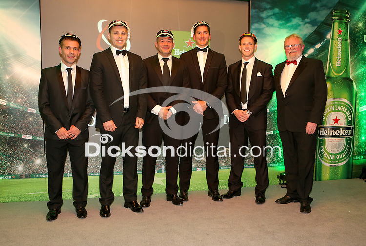 Thursday 10th May 2018   Ulster Rugby Awards 2018<br /> <br /> Pictured with the Ulster Branch President, Graffin Parke, are 200 Cap winners Paul Marshall, Darren Cave, Rory Best, and Robbie Diack, and Craig Gilroy 150 Cap, during the 2018 Heineken Ulster Rugby Awards at La Mom Hotel, Belfast. Photo by John Dickson / DICKSONDIGITAL