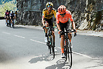William Barta (USA) CCC Team and Tom Dumoulin (NED) Team Jumbo-Visma during Stage 5 of Criterium du Dauphine 2020, running 153.5km from Megeve to Megeve, France. 16th August 2020.<br /> Picture: ASO/Alex Broadway | Cyclefile<br /> All photos usage must carry mandatory copyright credit (© Cyclefile | ASO/Alex Broadway)