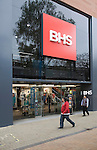 BHS department store entrance and sign, shop in central business district of Swindon, England