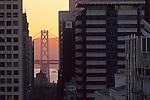 Bay Bridge seen from downtown San Francisco, California