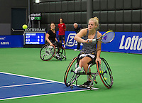 Rotterdam, Netherlands, December 19, 2015,  Topsport Centrum, Lotto NK Tennis, Wheelchair womans final: Dide de Groot (R) and Aniek van Koot (NED)<br /> Photo: Tennisimages/Henk Koster
