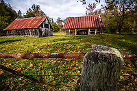 Old barn at the Parker Hickman Homestead in the Erbie Community on the Buffalo National River in Arkansas.