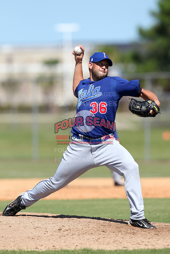 Italy National Team pitcher Carlos Richetti #36 during an Instructional League game against the Washington Nationals at Carl Barger Training Complex on September 28, 2011 in Viera, Florida.  (Mike Janes/Four Seam Images)