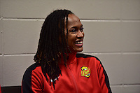 Houston, TX - Saturday Oct. 08, 2016: Jessica McDonald during a press conference prior to the National Women's Soccer League (NWSL) Championship match between the Washington Spirit and the Western New York Flash at Houston Sports Park.
