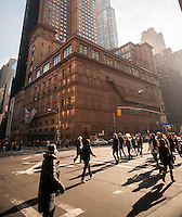 "The landmark performance space Carnegie Hall in New York on Sunday, November 23, 2014. The hall is considered one of the premiere performance spaces in the world and has inspired the joke, ""Q: How do you get to Carnegie Hall?; A: Practice, Practice."" (© Richard B. Levine)"