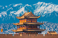 Great Wall Fort (built by Ming Dynasty), along the Silk Road, Jiayuguan, Gansu Province, China.