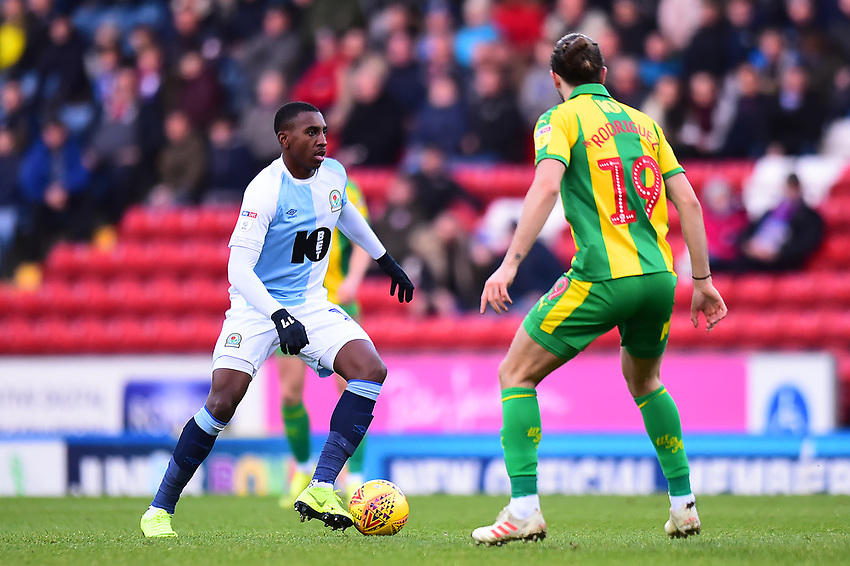 Blackburn Rovers' Amari'i Bell in action<br /> <br /> Photographer Richard Martin-Roberts/CameraSport<br /> <br /> The EFL Sky Bet Championship - Blackburn Rovers v West Bromwich Albion - Tuesday 1st January 2019 - Ewood Park - Blackburn<br /> <br /> World Copyright © 2019 CameraSport. All rights reserved. 43 Linden Ave. Countesthorpe. Leicester. England. LE8 5PG - Tel: +44 (0) 116 277 4147 - admin@camerasport.com - www.camerasport.com
