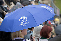 Umbrellas remain raised as the rain continues during South Africa vs West Indies, ICC World Cup Cricket at the Hampshire Bowl on 10th June 2019