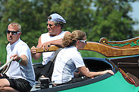 ZEILEN: EARNEWALD, 22-07-2014, SKS skûtsjesilen, Douwe Visser met het Sneker Skûtsje op weg naar de overwinning, ©foto Martin de Jong