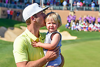 Kevin Chappell (USA) kisses his son Wyatt after winning the 2017 Valero Texas Open, AT&amp;T Oaks Course, TPC San Antonio, San Antonio, Texas, USA. 4/23/2017.<br /> Picture: Golffile | Ken Murray<br /> <br /> <br /> All photo usage must carry mandatory copyright credit (&copy; Golffile | Ken Murray)