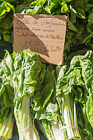 Europe/France/Provence-Alpes-Côte d'Azur/Alpes-Maritimes/Nice: Sur le marché, Cours Saleya Feuilles de Bette bio   // Europe, France, Provence-Alpes-Côte d'Azur, Alpes-Maritimes, Nice:  Cours Saleya market,  organic Swiss chard